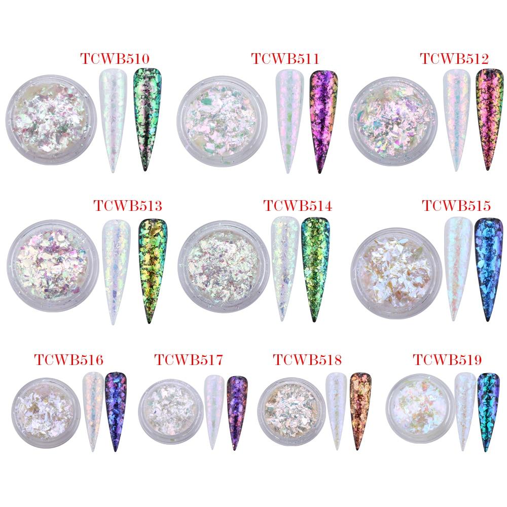 TCT-238 unicórnio branco camaleão flocos mágicos multi cromo prego em pó arco-íris flocos unhas glitter aurola glitter henna