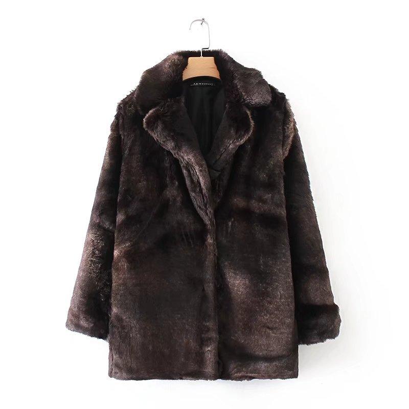 YD120-8438 European and American fashion fur effect Lapel coat