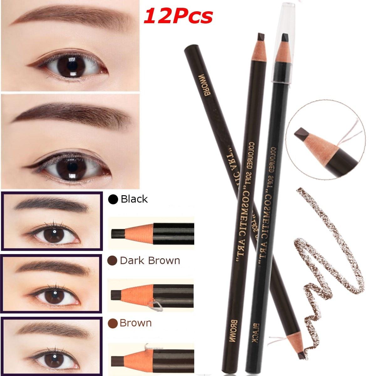 ¡Oferta! 12 unids/set de lápiz para cejas, lápiz para maquillaje de cejas, lápiz para cosméticos, resistente al agua, estéreo, maquillaje permanente, herramienta de arte para tatuajes