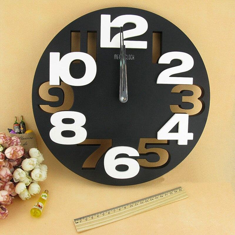 Grande número 3d relógio de parede redondo digital grande decorativo design moderno breve simples barato mural cozinha relógio de parede