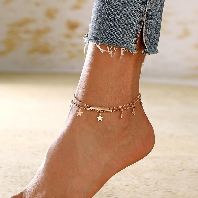 XIYANIKE Multilayer Star Geometric Pendant Anklet Foot Chain New Summer Yoga Beach Leg Bracelet Charm Anklets Jewelry Gift Women