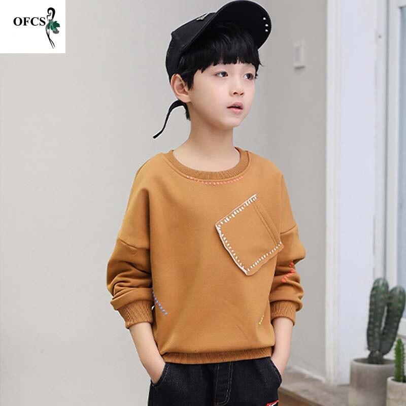 Новая модная розничная продажа, Лидер продаж, детский осенний свитер, футболки детские хлопковые футболки для больших мальчиков топы с длин...