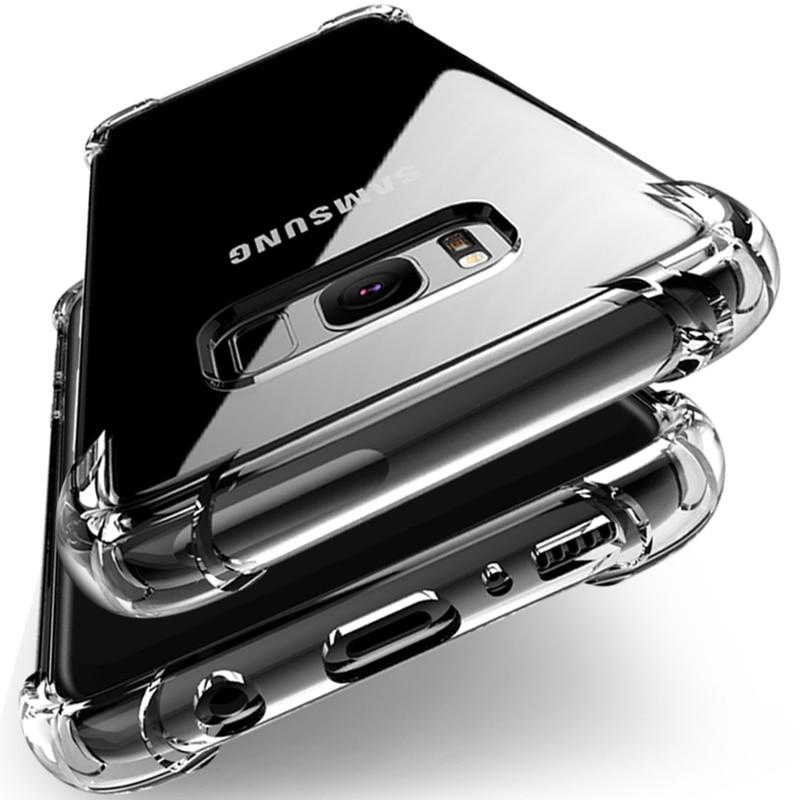 A prueba de golpes a prueba clara de silicona suave armadura funda para Samsung Galxay A6 A8 más A5 A7 2018 J3 J5 J7 A3 J1 2016 2017 Nota 9 de la cubierta de la Caja