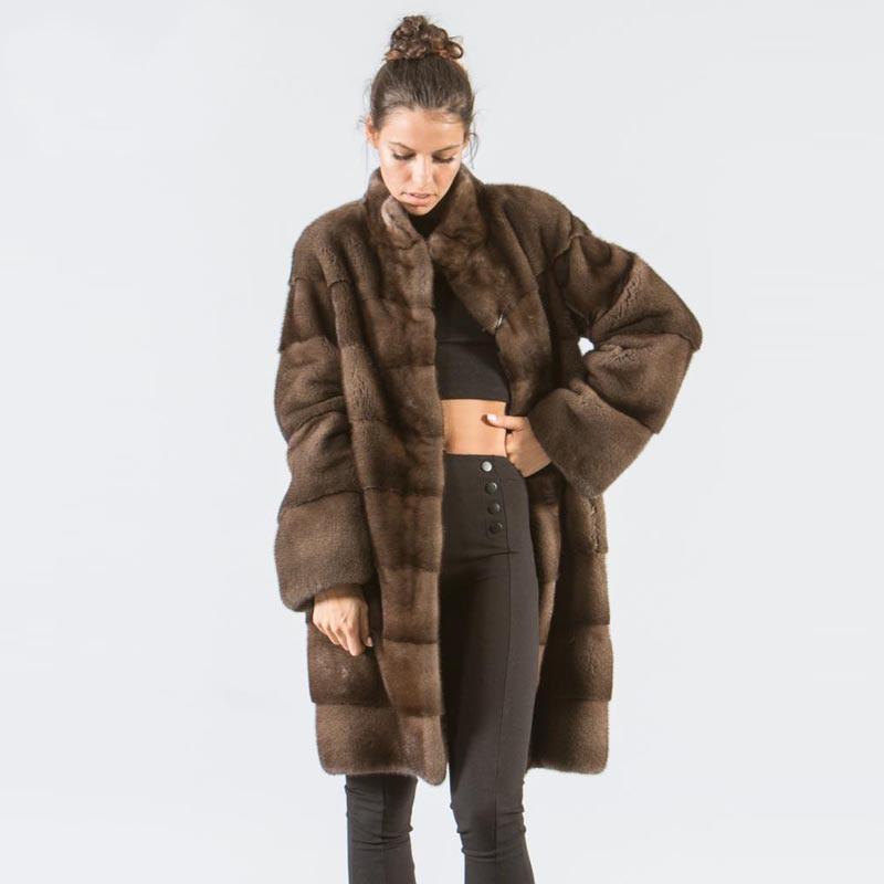 Park With Natural Fur 2019 Fashion Mink Coats For Women Genuine Plus Size Karakul Ladies Real Fur Outerwear Full Pelt Top 12.29