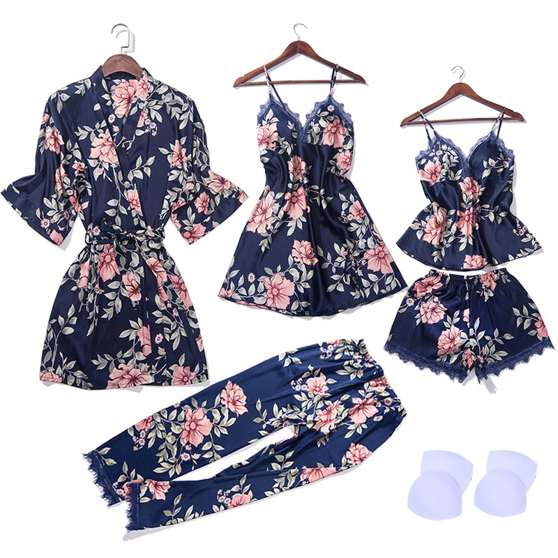 2019 top 5 pieces of women's pajamas sexy lace pajamas satin sleep suit pajamas Negligee Sleepwear home clothing