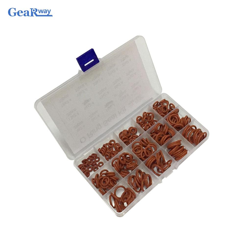 Juego de juntas tóricas de silicona 250 Uds. Surtido de juntas tóricas VMQ con caja de plástico 15 tamaños diferentes juego de juntas tóricas Rojas
