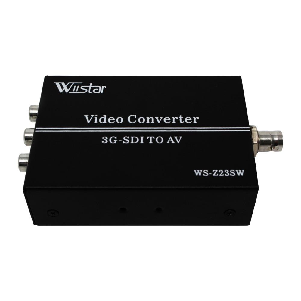 Wiistar 3g hd sdi para conversor av bnc para rca adaptador de áudio scaler até 1080 p suporte lpcm 2.0 para tv