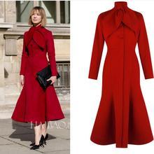 Wool Blends Coat Women autumn winter Mid-Length Mermaid Fashion Button slim red woolen Coats