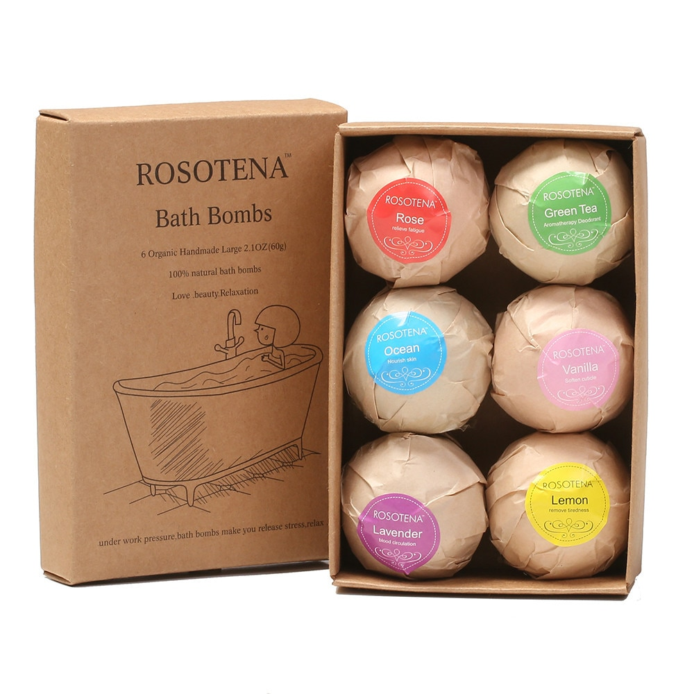 Organic Bath Bombs Bubble Bath Salts Ball Essential Oil Handmade SPA Stress Relief Exfoliating Mint Lavender Rose Flavor 6 pcs
