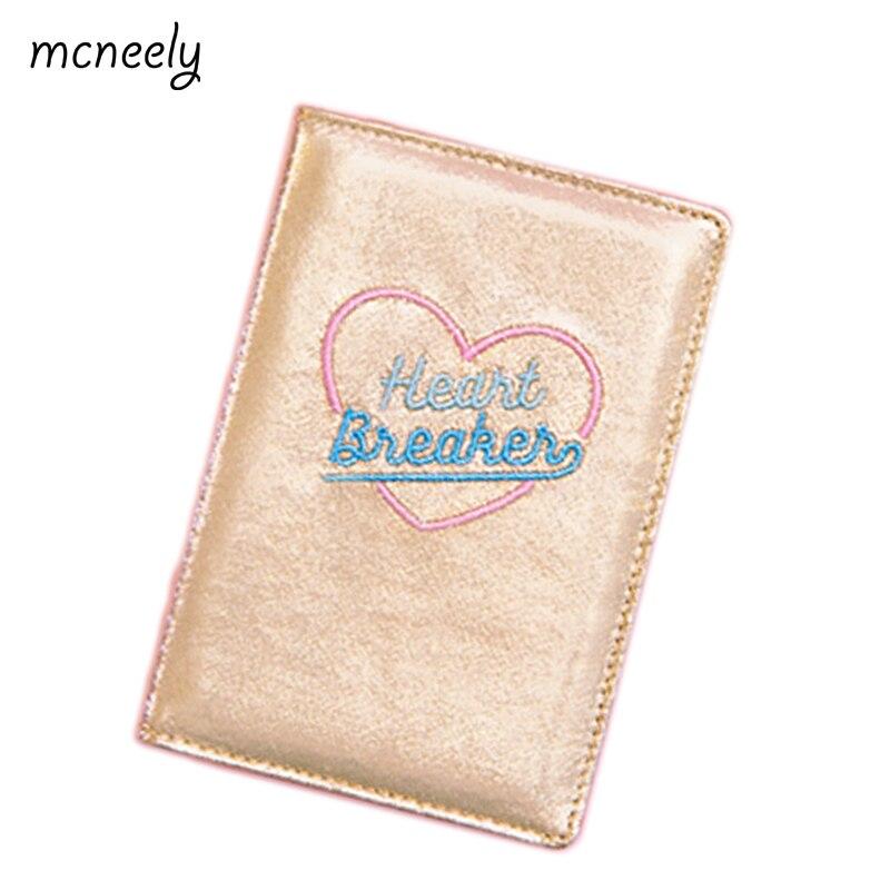 Cubierta de pasaporte de viaje Mcneely bordado corazón niñas luz láser carteras para tarjetas de crédito paquete Jacquard para mujer pasaporte titular