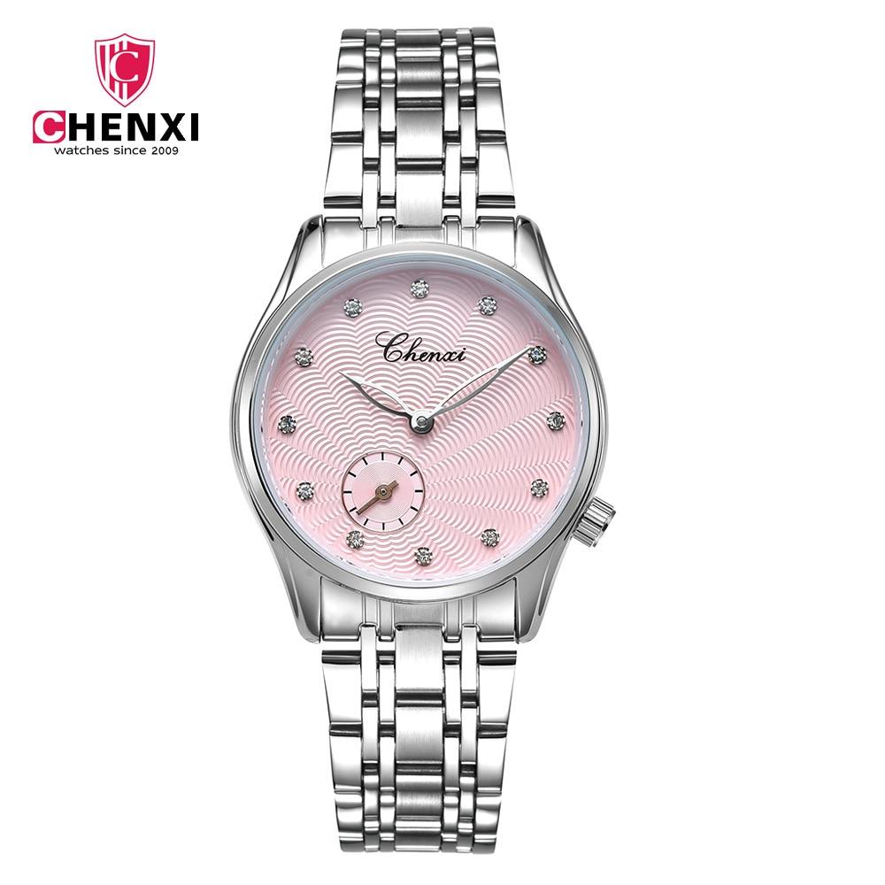 CHENXI Luxus Frauen Uhren Stahl Armband Damen Strass Uhren Mode Weibliche Quarzuhr Berühmte Marke Armbanduhr NATATE