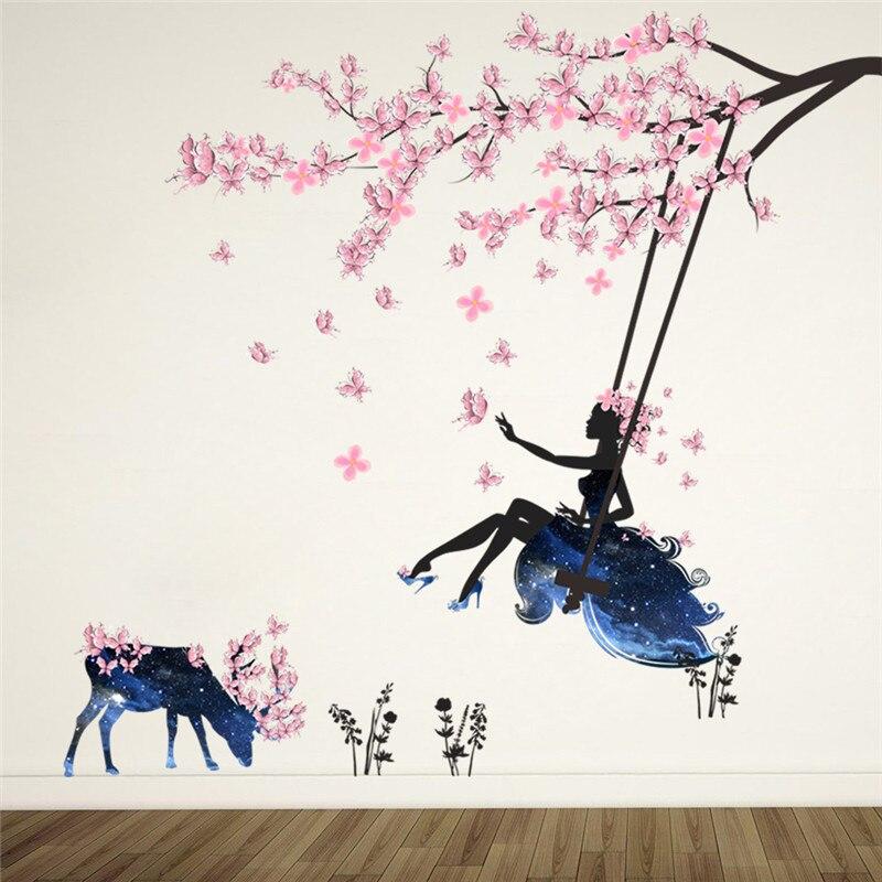 Romantische Blumen Fairy Schaukel Wand Aufkleber für Kinder Zimmer Wand Dekor Schlafzimmer Wohnzimmer Kinder Mädchen Zimmer Aufkleber Poster Wandbild