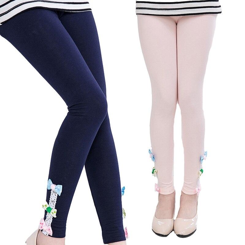 Niños Niñas Leggings algodón arco pantalones para Niñas Ropa niños Ballet danza Leggings Color caramelo pantalones delgados 3 5 7 9 11 12