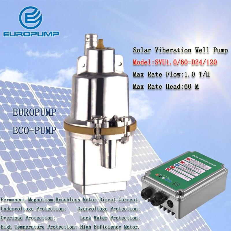 EUROPUMP MODEL(SVU1.0/60-D24/120) solar submersible pump for irrigation 120w max head 60meters 1000L/H solar well water pump