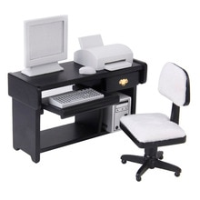 Dollhouse Miniature Furniture Computer Desk Chair Printer Set 1:12