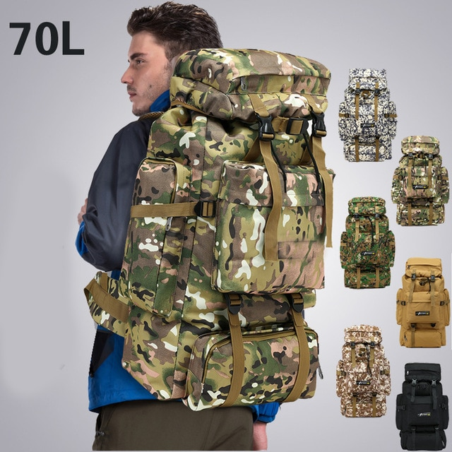 Bolsa táctica de 70l para hombre, mochila militar para montañismo, deporte, viajes al aire libre, mochilas Molle, caza, Camping, mochila, Tas