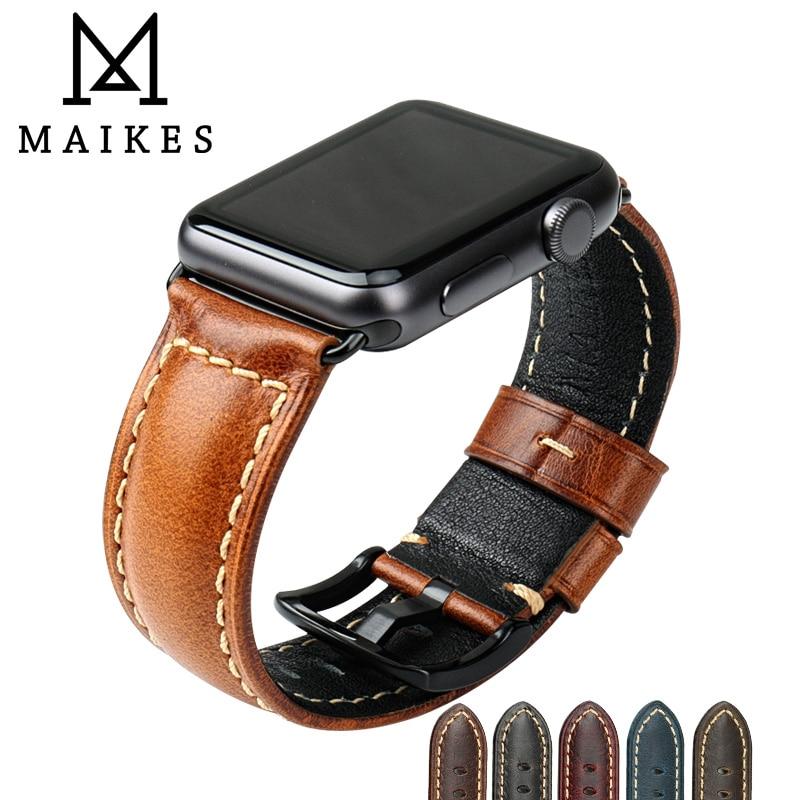 MAIKES Oil Wax Leather Bracelet For Apple Watch Band 42mm 38mm / 44mm 40mm Series 6 5 4 3 For Apple Watch Strap iWatch Watchband maikes new arrival genuine leather iwatch 44mm 40mm watch band for apple watch strap 42mm 38mm series 4 3 2 1 bracelet watchband