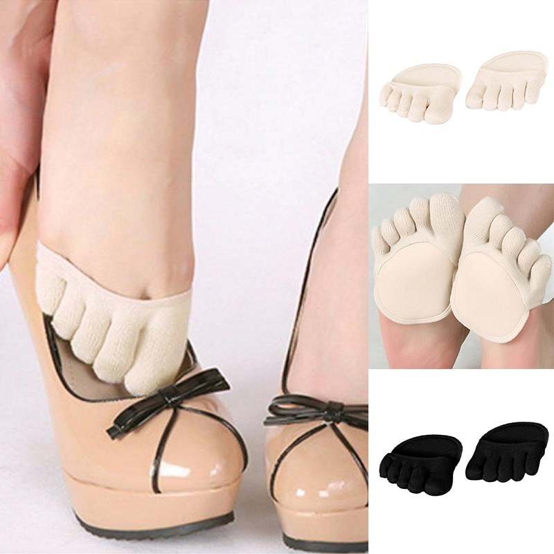 Women Cotton Sponge Silicone Socks Anti-slip Lining Heelless Liner Sock Invisible Forefoot Cushion Foot Pad High Heels Socks