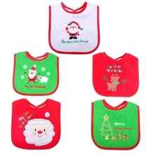 Baby Bandana Bibs Newborn Infant Santa Claus Bavoir Toddler Saliva Bear Towel Embroidered Babero Christmas Gift