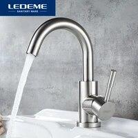 LEDEME Robinet salle de bain a poignee tournante  mitigeur inoxydable  Robinet simple melangeurs de lavabo deau chaude et froide  Grue L1098-3