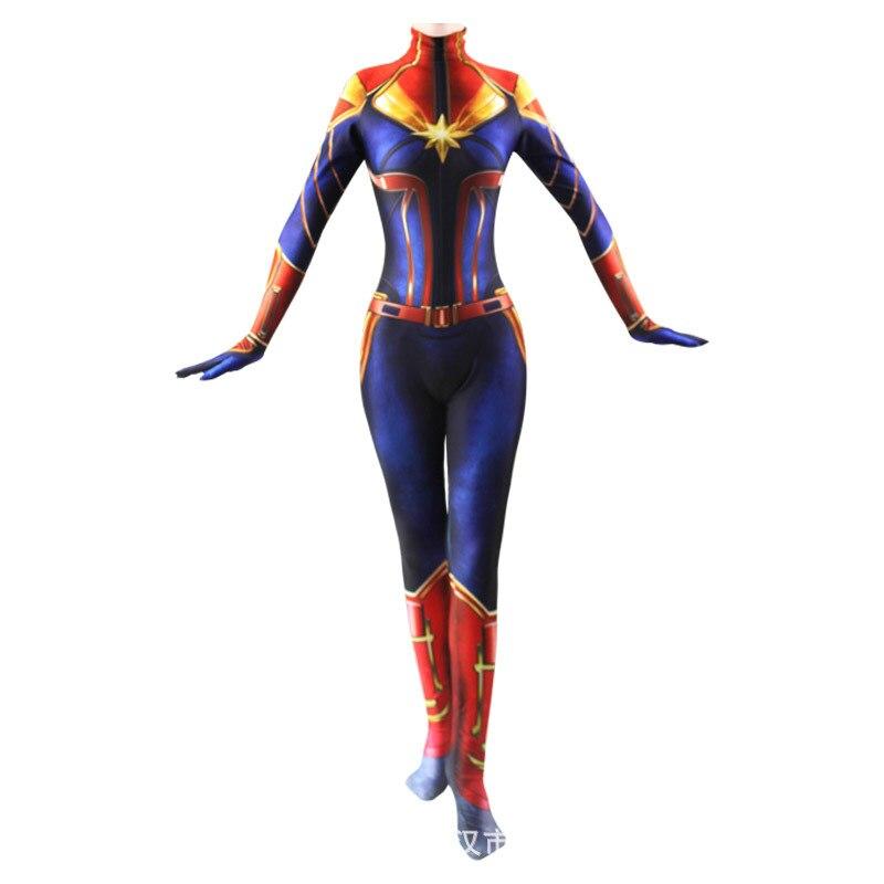 Traje de Cosplay del capitán de la película de Marvel Carol Danvers los Vengadores superhéroe Zentai traje de Halloween mujeres adultos niños