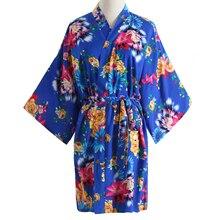 Chinese Women Robe New Kimono Bathrobe Gown Print Flower Nightwear Sexy Spa Sleepwear Bride Bridesmaid Dressing Geisha Nightgown