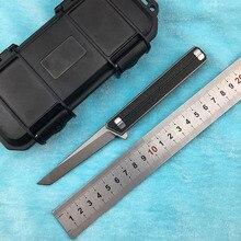 LEMIFSHE M390 hoja Flipper cuchillo plegable pequeñas municiones oficial de titanio + CF mango camping al aire libre cuchillo de fruta herramienta EDC