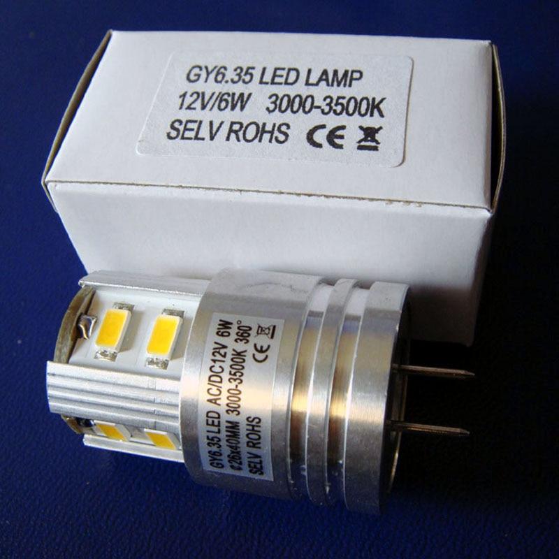 Alta qualidade 6 w 12v gy6.35 lâmpada led, 12v 5630 6 de alta potência gy6.35 led luz frete grátis 50 pçs/lote