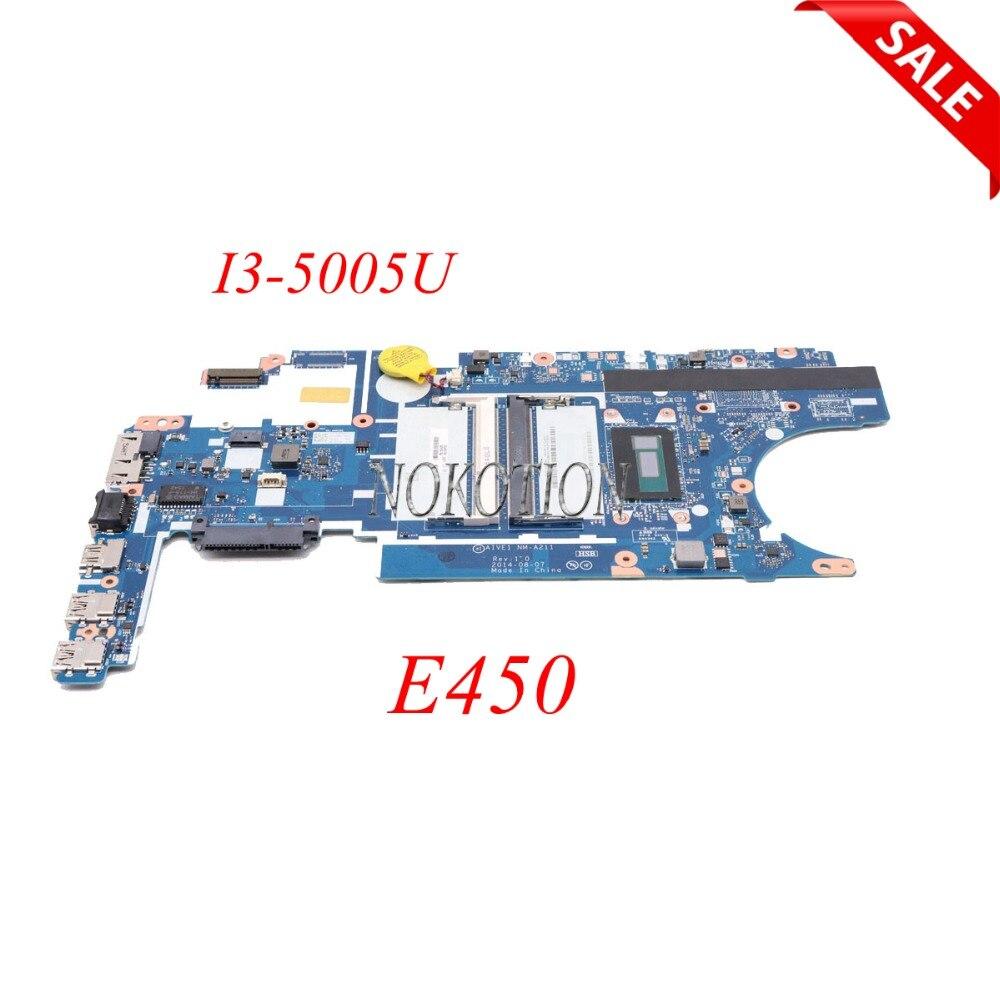 Placa base para ordenador portátil NOKOTION ATVE1 NM-A211 00HT778 para Lenovo ThinkPad E450 E450C I3-5005U CPU placa principal totalmente probada
