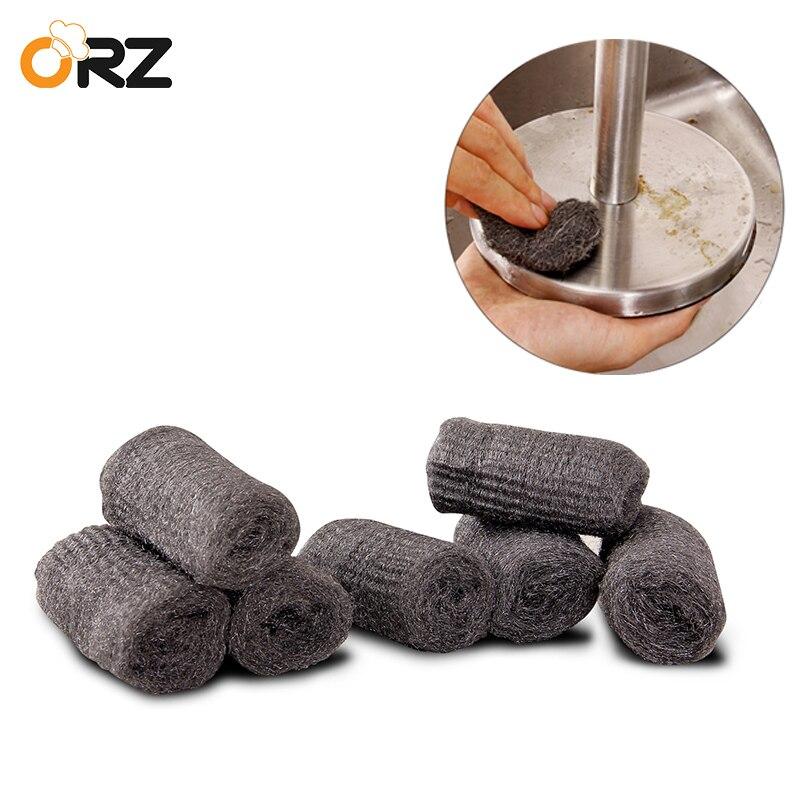 ORZ 12 unids/lote cepillo de limpieza de cocina, olla mágica, limpiador de acero inoxidable, esponjas de lana, cepillo de limpieza, estropajo, herramientas de cocina
