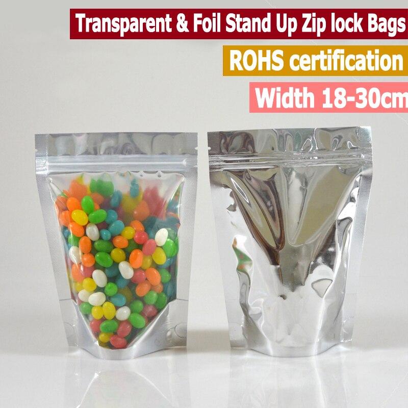 50 Uds un lado claro y metalizados de pie bolsas con cierre para alimentos de pie bolsas con cierre Zip ancho de 18 a 30cm