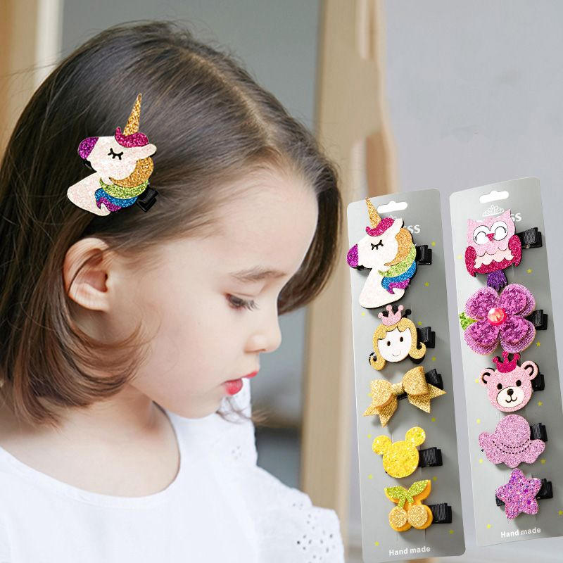 New 5PCS/Set Cute Cartoon Unicorn Owl Girls Hairpins Lovely Headwear Barrettes Children Headbands Kids Fashion Hair Accessories