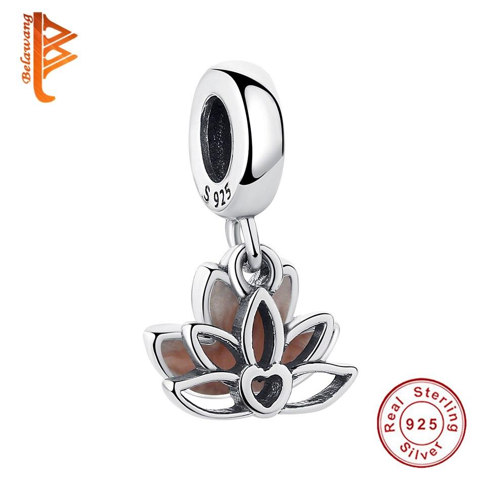 BELAWANG Real 100% Plata de Ley 925 elegante flor de loto jaula colgante ajuste cadena collar joyería