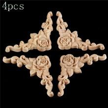 bowarepro 4pcs Rose Wood Carving Decal For Furniture Decoration Floral Wooden Applique Carved Decoration Door Decor Crafts 8*8cm