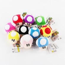 6CM 1 pièces Super Mario Bros champignon porte-clés en peluche pendentifs jouet japon Anime Mini Mario Bros Luigi Yoshi
