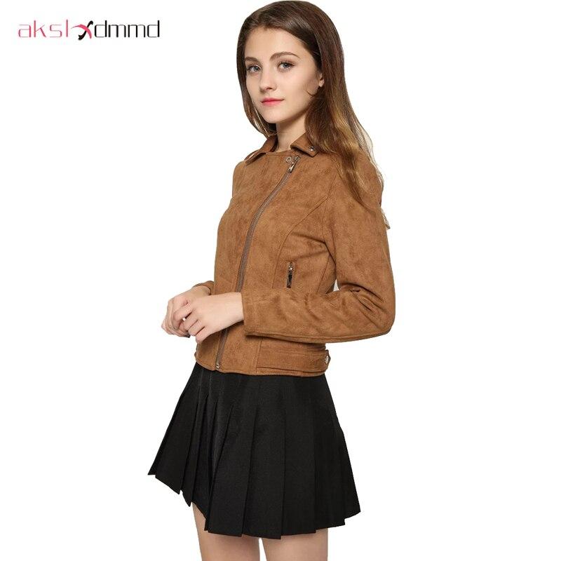 AKSLXDMMD 2019 nueva moda de las mujeres de gamuza chaqueta de la motocicleta Delgado marrón Full Lined suave Faux cuero mujer Veste Femme YR085