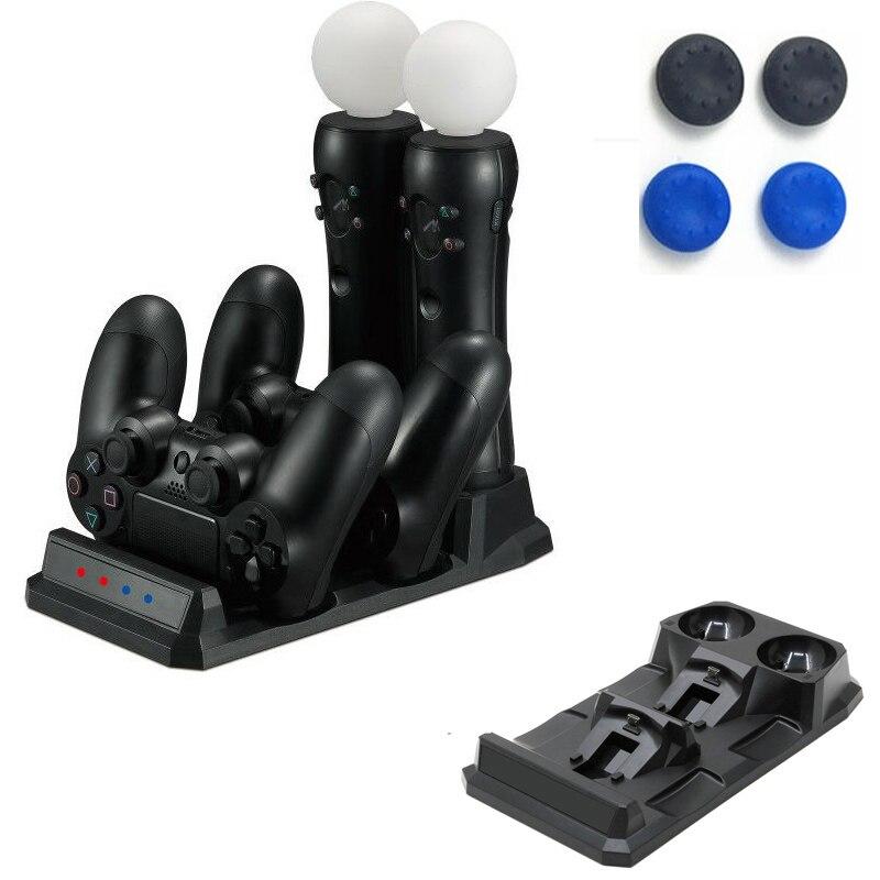 PS4 контроллер Зарядное устройство Док-станция Подставка для Playstation 4 Slim Pro PS VR PS Move геймпад 4 в 1 Аксессуары для зарядки