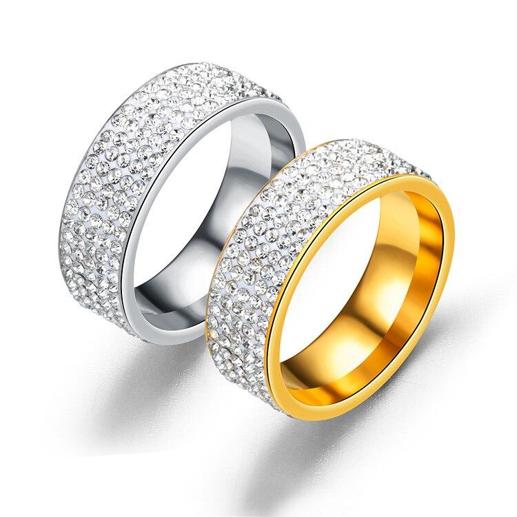 Anillos de boda para hombre y mujer, anillo de compromiso de cristal de acero inoxidable, 5 filas de diamantes de imitación, joyería para el Día de San Valentín