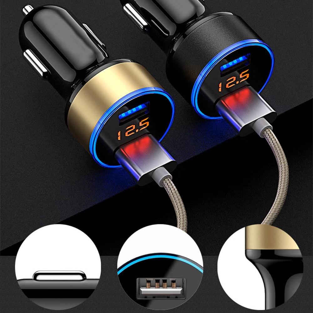 Cargador de coche rápido USB 2.1A con 2 puertos LCD, cargador de coche con pantalla de 12-24 V, cargador de enchufe de mechero rápido para cigarrillos, estilo de coche Y3