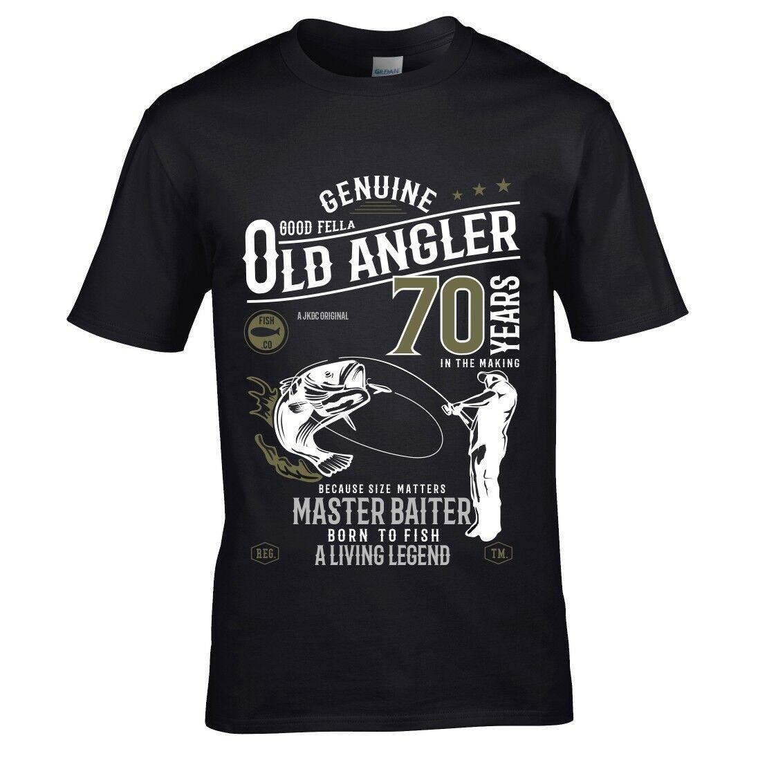 Забавная Мужская футболка с рыбаком 70 лет, рыбаком, рыбаком, топ, подарок на день рождения, модные новые футболки, новинка, топы с круглым выр...