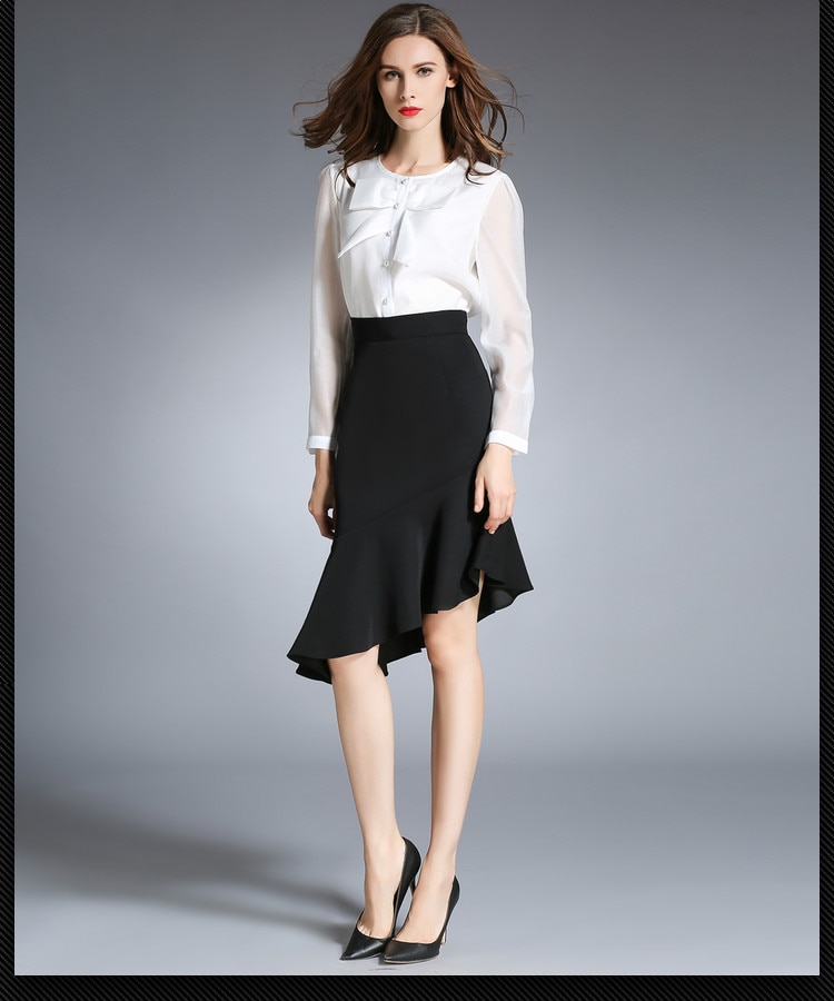Verano nuevo Irregular hoja de loto volantes falda cola de pescado paso falda