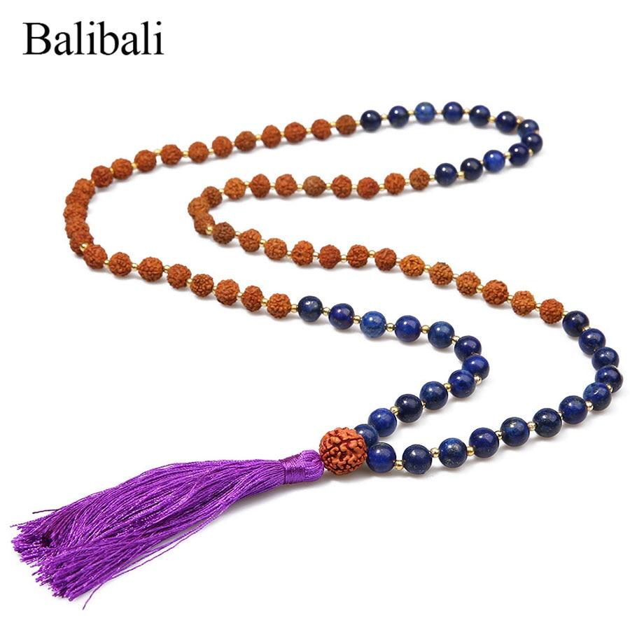 Balibali Rudraksha Mala Beads Colares Longos para As Mulheres Mista Pedra Natural Colar Apelativo Homens Acorrentados Collier Feminino