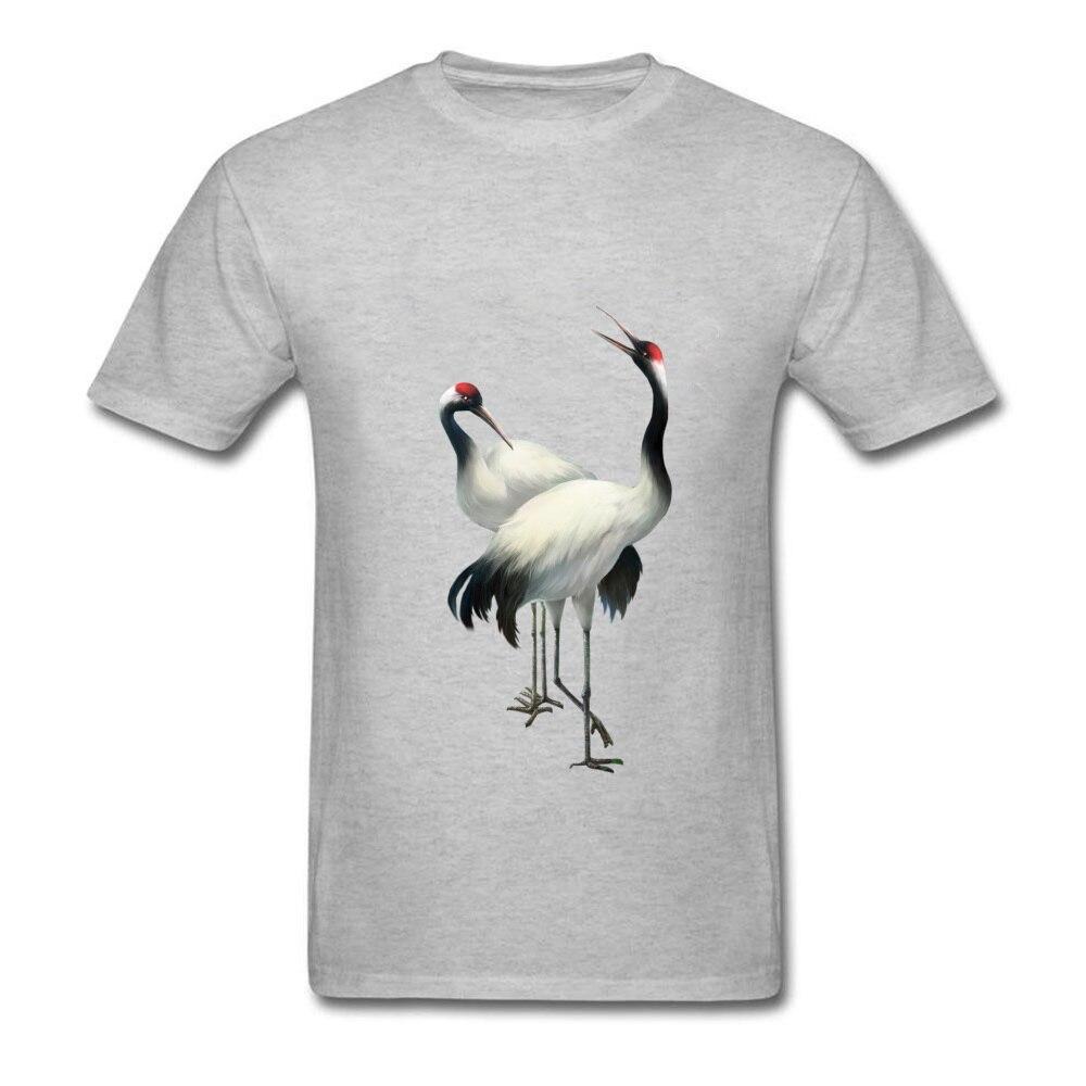 Nueva camiseta gris con dibujo de calavera para hombre, camiseta de manga corta con estampado de aves informal de verano y otoño, estilo chino