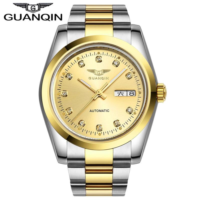 Automatic watch men Luxury GUANQIN  Waterproof Diamond sapphire Men gold watch men watches top brand 12 month Guaranteed!