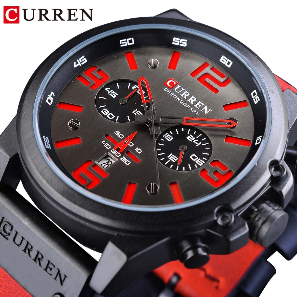 CURREN Red Genuine Leather Belt 3 Dial Special Design Calendar Display Mens Quartz Military Sport Wr