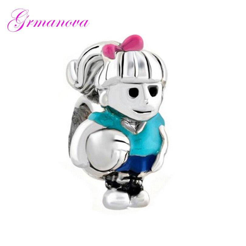 Baloncesto bebé azul esmalte femenino DIY joyería azul perlas para amuleto de cristal accesorios de joyería amuleto apto Pandora collar de pulsera