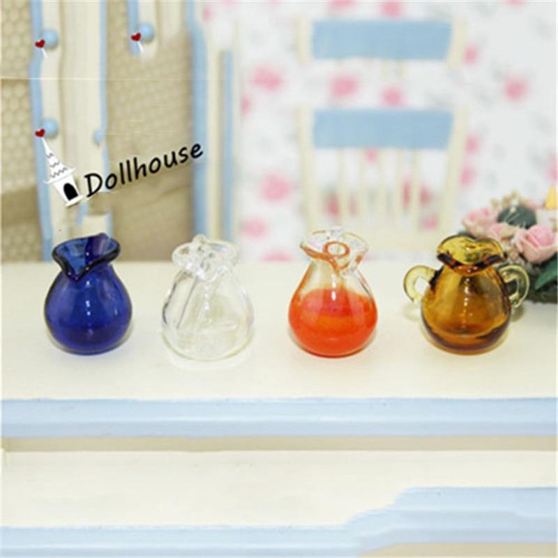 4 вида мебели для кукольного дома, миниатюрные кувшины из синего стекла, стеклянная ваза для горшка, 1/12 весы, кухонная игрушка