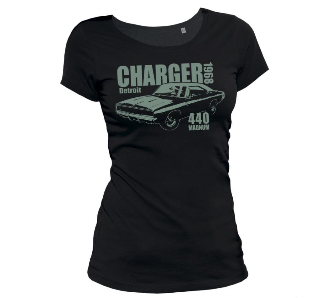 2019 Moda Quente Damen T-Shirt-Carregador 1968-Frauen Girlie Mopar Muscle Car Hot Rod T shirt Camiseta