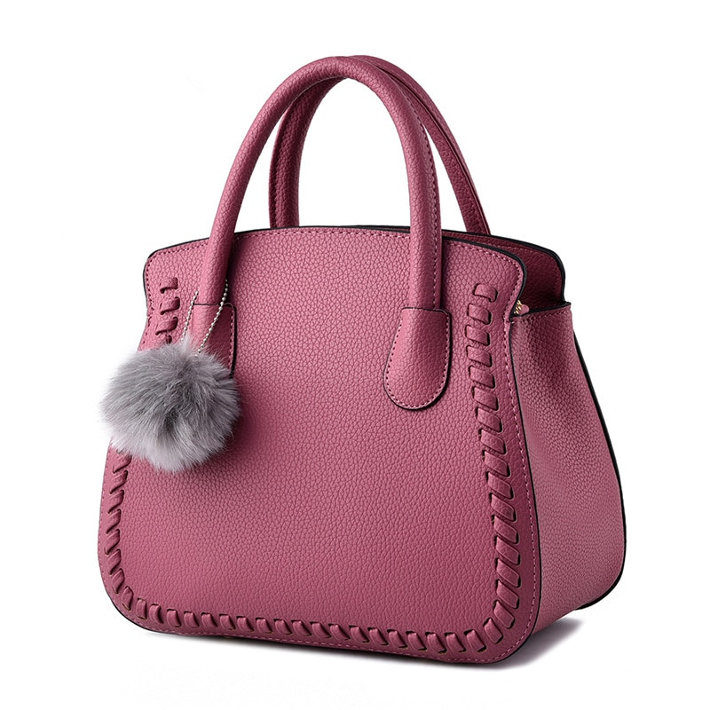 Bolso de mano elegante de alta calidad en relieve PU de oficina para mujer bolso de mano rosa oscuro bolso de hombro para mujer