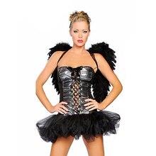 Mode chaude noir Angle Costume fée Costume pas cher noir Angle Costume nouveau Angle vêtements avec ailes Angle robe